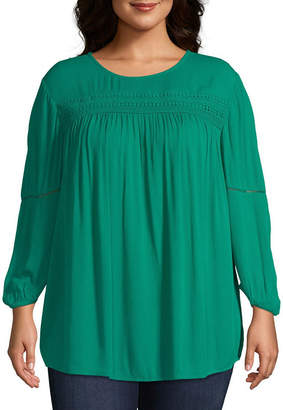ST. JOHN'S BAY Plus Womens Round Neck Long Sleeve Blouse