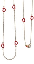 Jordan Askill Red Enamel Multi-Heart Necklace