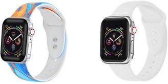 Posh Tech Orange Tie Dye/White Silicone Apple Watch Replacement Band - Set of 2