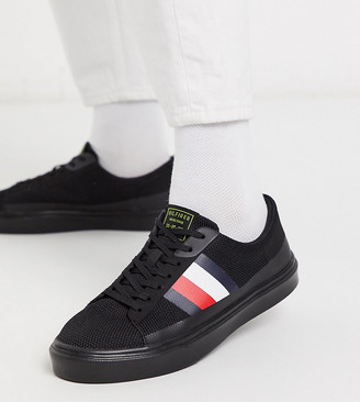 Tommy Hilfiger ASOS exclusive lightweight stripe knit trainers in triple black