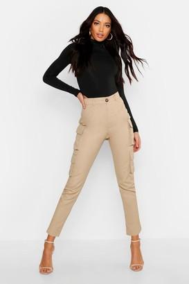 boohoo High Waist Skinny Cargo Pocket Pants