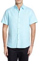 Stone Rose Men's Trim Fit Linen Blend Sport Shirt