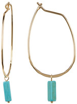 Cara Accessories Rectangle Turquoise Charm Hoop Earrings