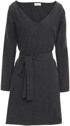 American Vintage Belted Brushed Cotton-blend Twill Mini Dress