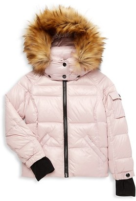 S13 Little Girl's Faux Fur Down Puff Jacket