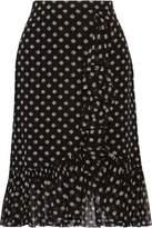 Tory Burch Indie Ruffle-Trimmed Printed Silk-Georgette Skirt