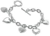 Zales 1/5 CT. T.W. Diamond Heart Assorted Charm Bracelet in Sterling Silver