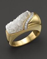 Kara Ross 18K Yellow Gold and Diamond Wide Hydra Stacking Ring with Raw White Quartz