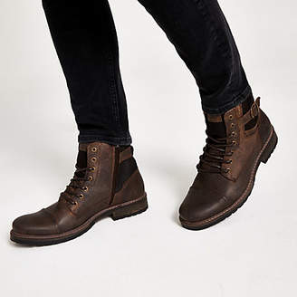 River Island Dark brown buckle lace-up leather boots