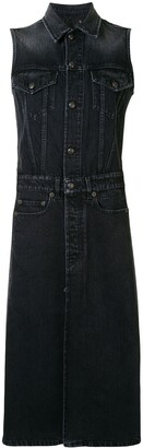 R 13 Jake button-through denim midi dress