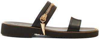 Giuseppe Zanotti Black Gold Zip Sandals