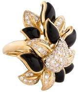 Ring Pavé Diamond & Onyx Cocktail