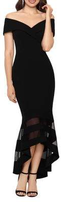 Xscape Evenings Off-the-Shoulder V-Neck Illusion-Hem Gown