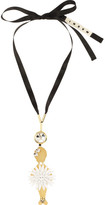 Marni Floral crystal and brass necklace