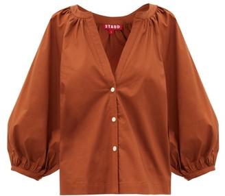STAUD Dill Gathered Cotton-blend Poplin Blouse - Light Brown