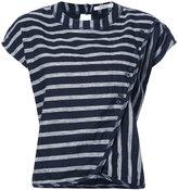 Derek Lam 10 Crosby striped drape front T-shirt - women - Cotton/Linen/Flax - XS