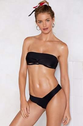 Nasty Gal Womens It'S A Shore Thing Bandeau Bikini Set - Black - L, Black