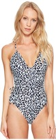 MICHAEL Michael Kors Thora Leopard Wrap Shirred Neck One-Piece Women's Swimsuits One Piece