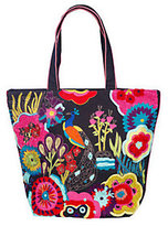 Jesselli Couture Peacock Embroidered Cotton Tote