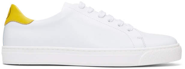 Anya Hindmarch SSENSE Exclusive White and Yellow Wink Tennis Sneakers