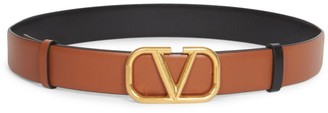 Valentino V Logo Reversible Leather Belt