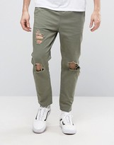 Asos Slim Cropped Chino Joggers With Knee Rips In Khaki