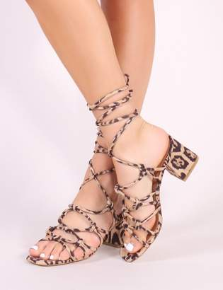 Public Desire Freya Knotted Strappy Block Heeled Sandals Print