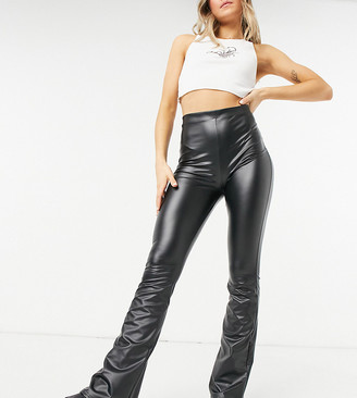 Collusion coated legging flares in black