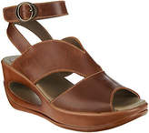 Fly London As Is Leather Ankle Wrap Wedge Sandals - Hibo