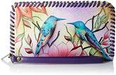 Anuschka Handpainted Leather Zip Around Wristlet With Removable Strap,Spring Passion Wallet