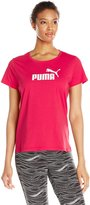 Puma Women's Essential Large Logo Tee W, Rose Red/White, XL