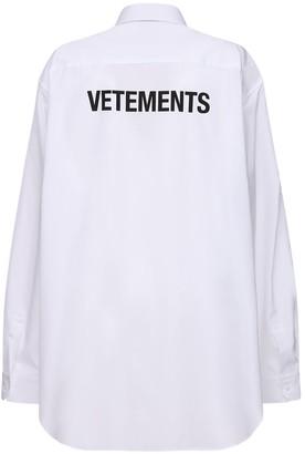 Vetements Over Back Logo Print Cotton Poplin Shirt