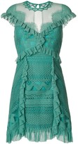 Three floor ruffle-trimmed lace dress