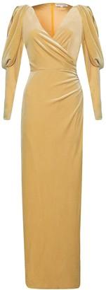 True Decadence Light Gold Velvet Statement Sleeve Maxi Dress