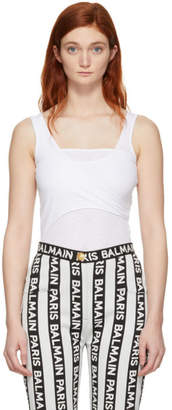 Balmain White Rib Knit Layered Tank Top
