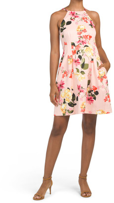 Floral Scuba Halter Fit And Flare Dress