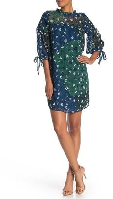 Susina Mock Neck Quarter Sleeve Textured Dress