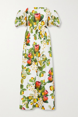 Borgo de Nor Juliet Off-the-shoulder Printed Cotton-poplin Maxi Dress - White