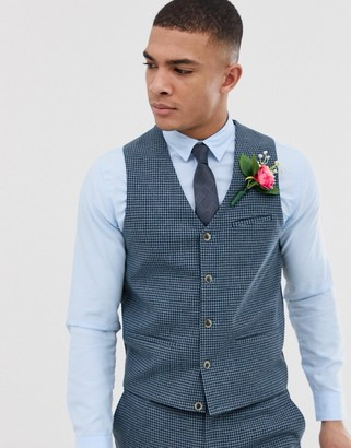 ASOS DESIGN wedding super skinny suit vest with blue houndstooth