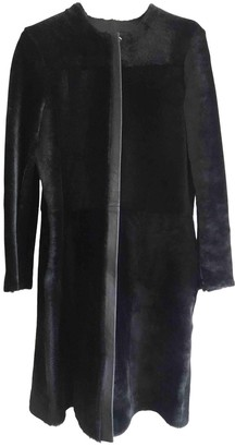 McQ Black Leather Trench Coat for Women