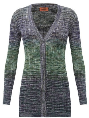 Missoni Space-dyed Striped Knitted Longline Cardigan - Blue Multi