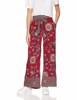 Angie Women's Gold Foil Printed Wide Leg Pant with Self Tie