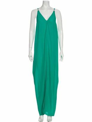 Lanvin V-Neck Long Dress Green