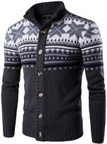 CeRui Men's Turtleneck Cardigan Sweater Casual Kintted Sweatertops L