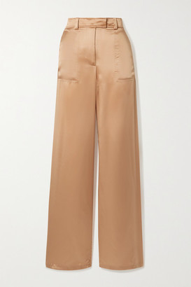 Tom Ford Silk-satin Wide-leg Pants - Peach