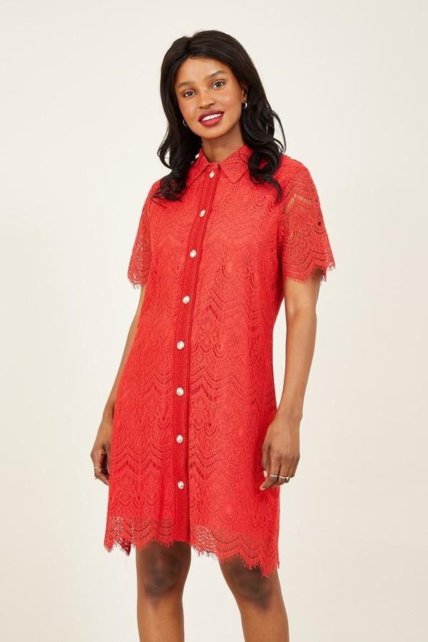 Yumi Red Lace Shirt Dress