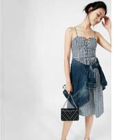 Express Gingham Lace-up Cotton Midi Dress