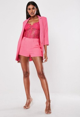 Missguided Pink Co Ord Basic Boyfriend Blazer