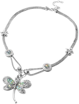 Shop Lc Abalone Shell Austrian Crystal Dragonfly Necklace in Silvertone 22 in