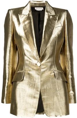 Alexander McQueen Metallic-Effect Tailored Blazer